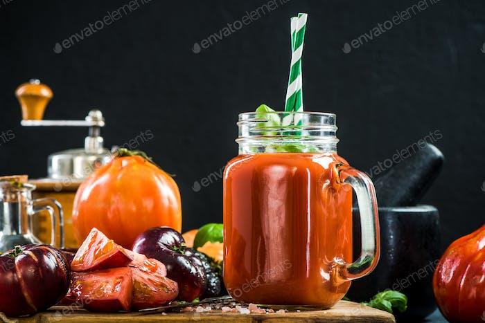 Jar full of healthy tomato juice