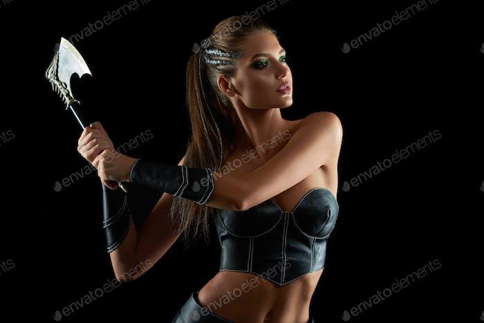 Gorgeous Amazon woman at studio