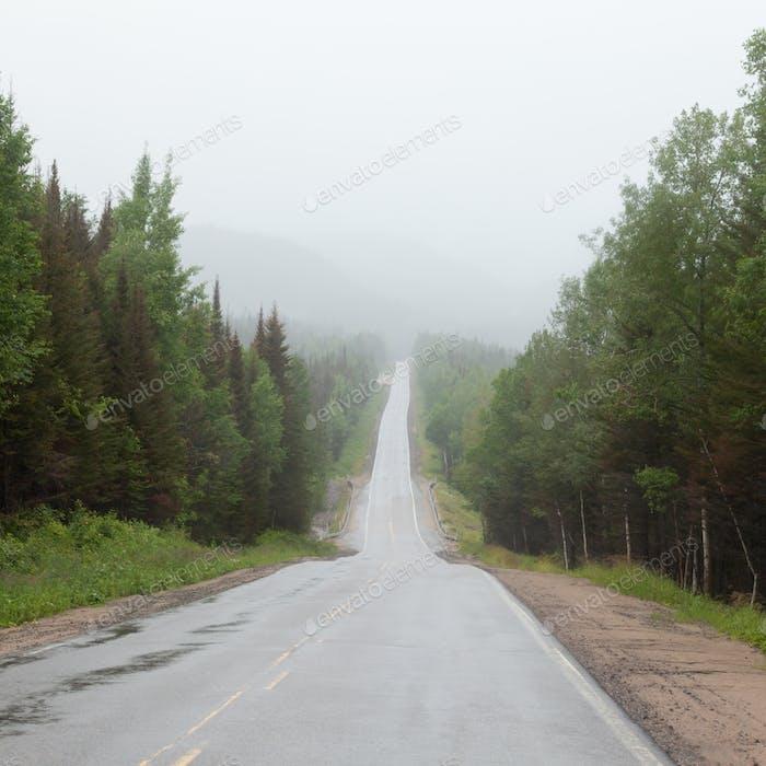 Foggy Trans-Labrador Highway TLH Quebec Canada