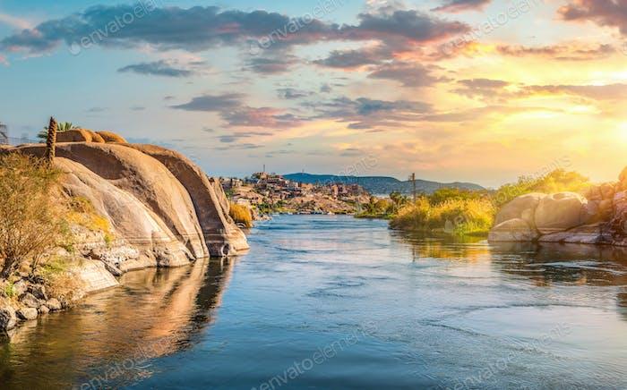Sunset landscape in Aswan