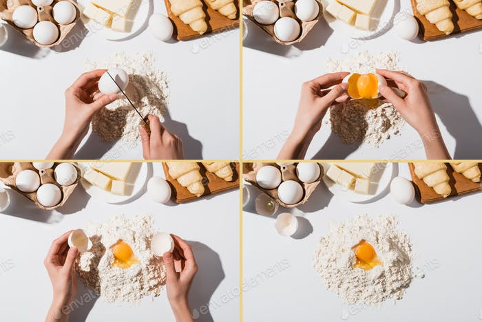 Cropped View of Woman Making Dough For Croissants on White Background, Collage
