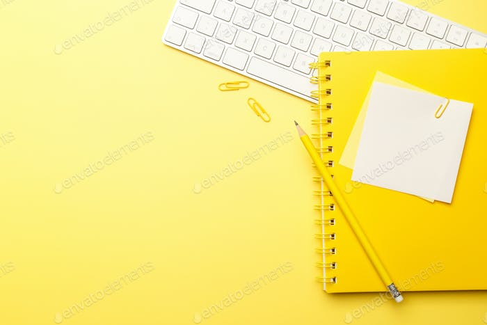 Stationary on yellow background