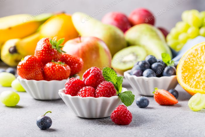 Fresh assorted fruits and berries