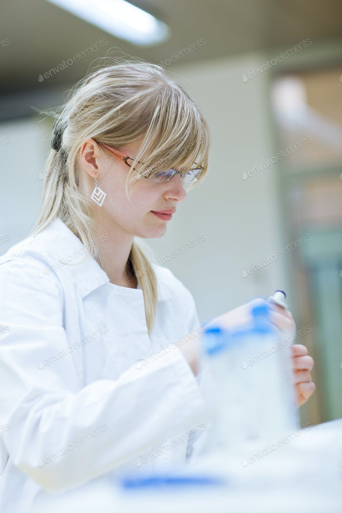 Closeup of a female researcher carrying out research experiments
