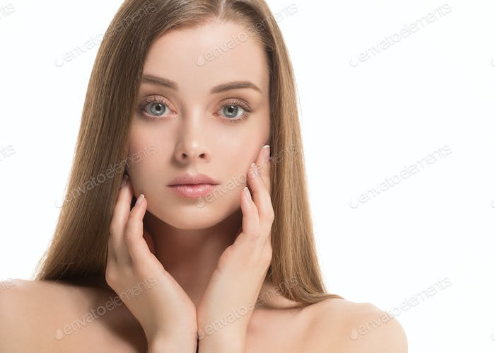 Beauty Girl face Portrait. Beautiful Spa model Woman with Perfect Healthy Hair Smooth. Brunette