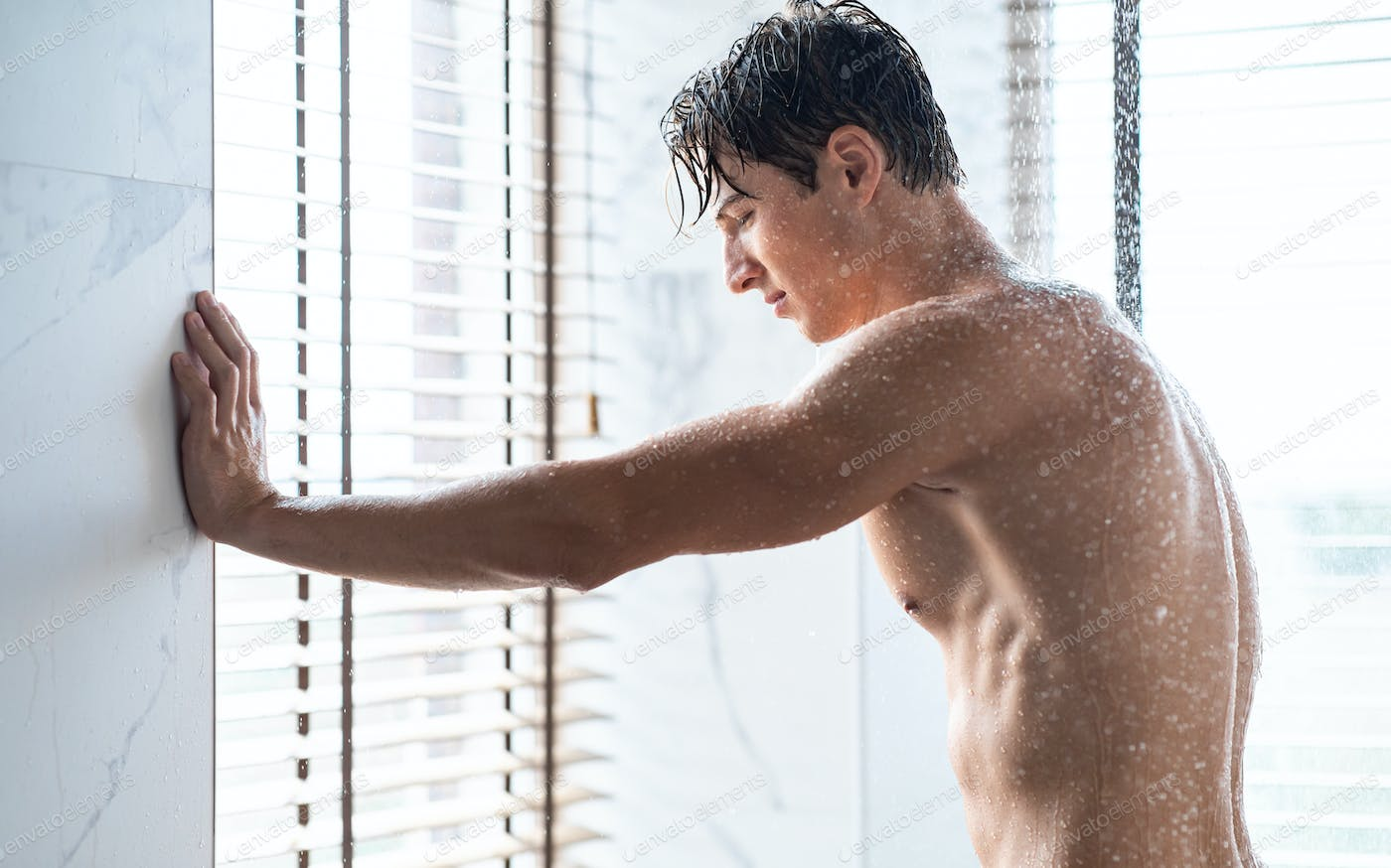 Handsome Young Guy Taking Hot Shower In Bathroom Photo By Prostock Studio On Envato Elements