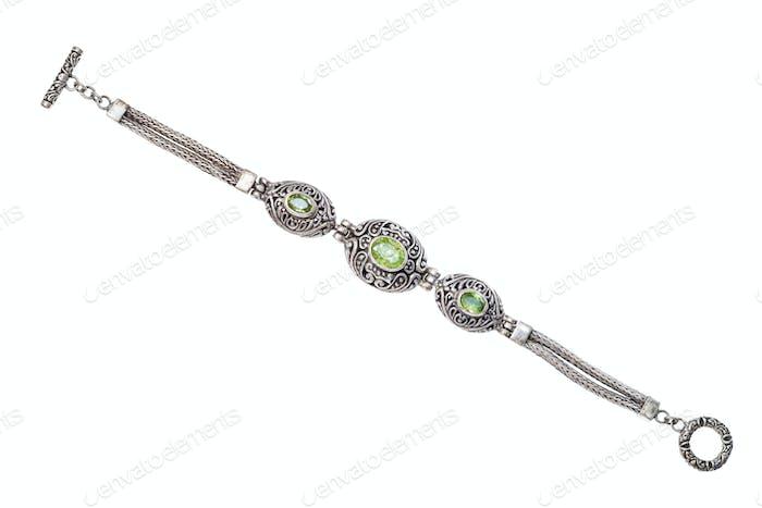 Silberarmband mit natürlichen Peridot Edelsteinen