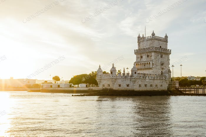 River view at sunset of Belem Tower in Lisbon, Portugal