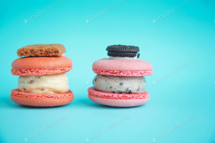 Big Macaroons on Blue Background