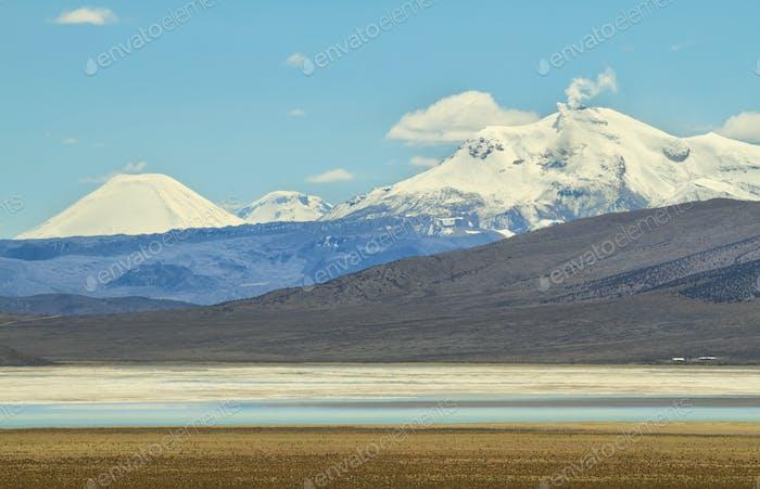 """Smoky Guallatiri volcano from """"Salar de Surire"""" national park"""""""