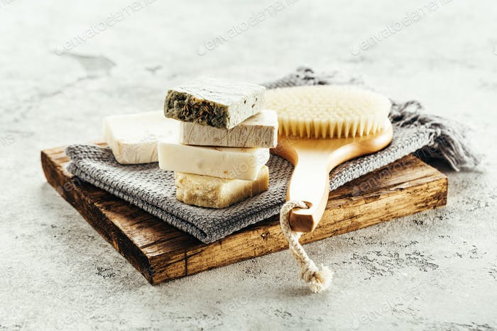 Natural aroma soap and brush for body