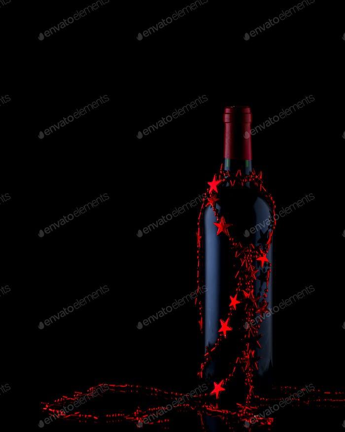 Weihnachtsflasche Rotwein