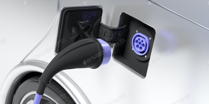 Electric car charger socket type 2 on white vehicle. 3d illustration