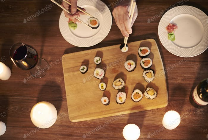 Overhead shot of sushi supper