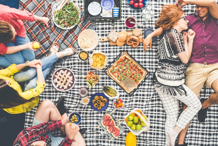 Vegetarian picnic on summer day