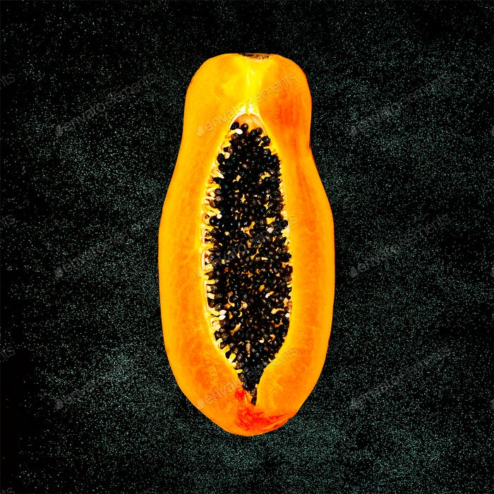 Papaya on a black background Minimal fashion
