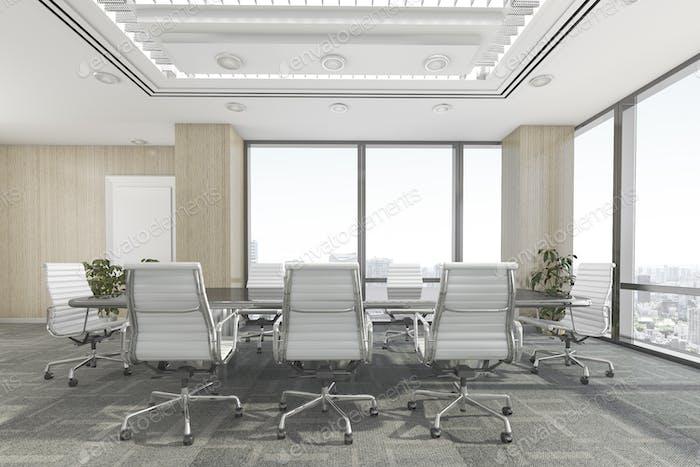 3D representación sala de reuniones en edificio de oficinas