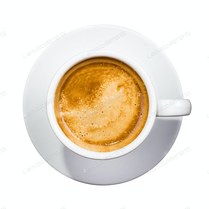 coffee cup top down over white background