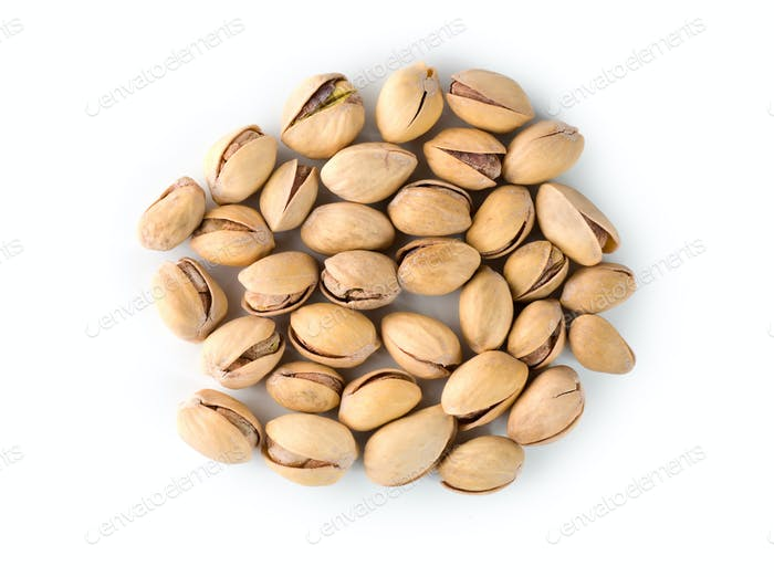 Pistachios on a white