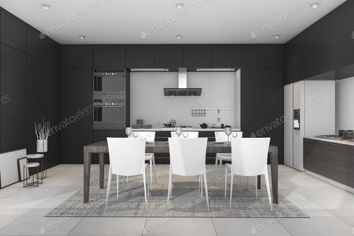 3d rendering black modern dining room and kitchen