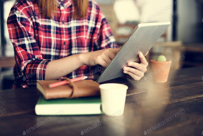 Girl Browsing Tablet Internet Concept
