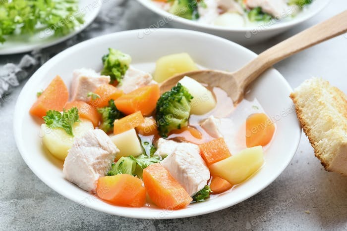 Soup from vegetable and chicken breast