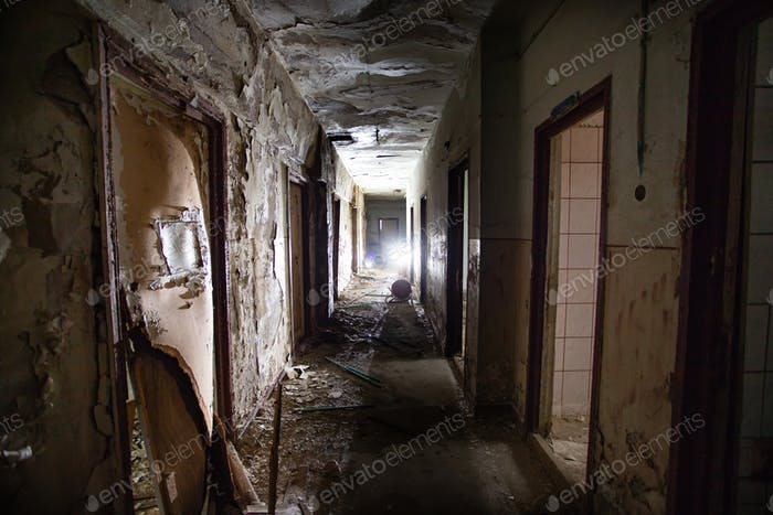 Old abandoned building, urban background