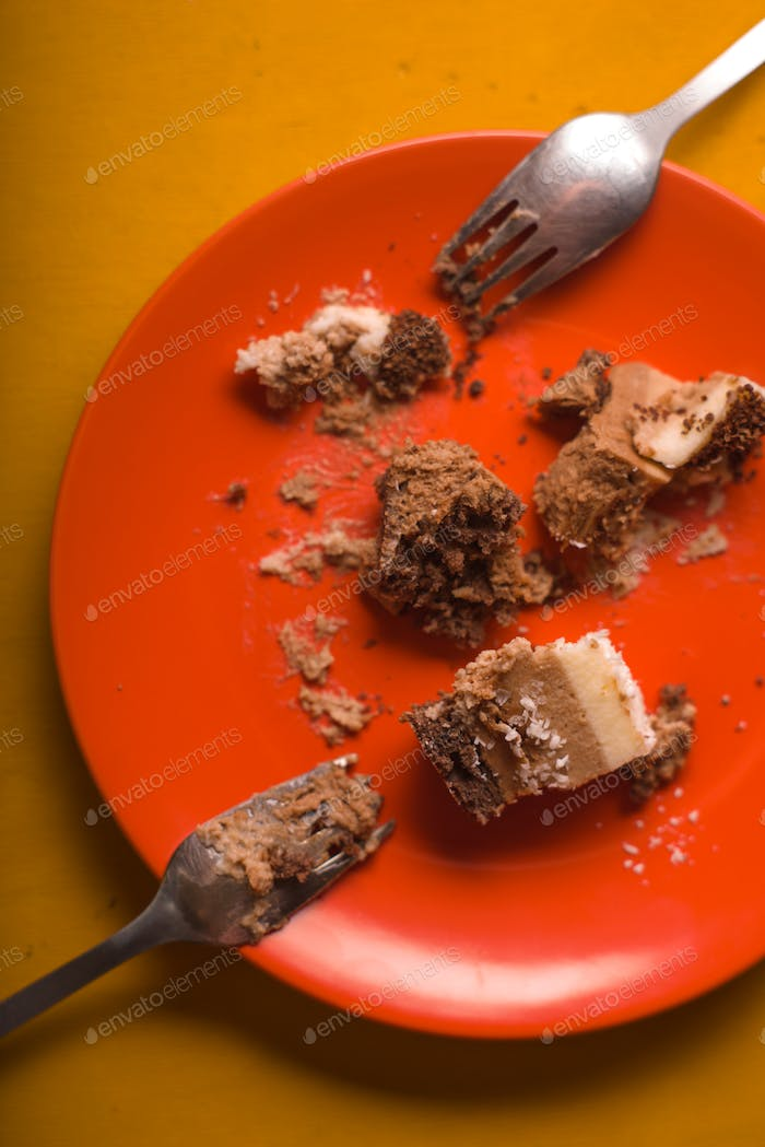 Pieces of chocolate cake with coconut chips on an orange plate