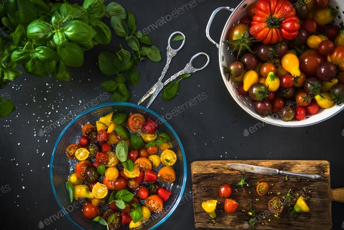 Colorful tomatoes ready for salad