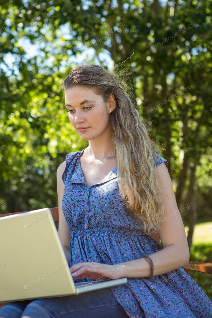 Pretty blonde using laptop in the park on a summers day