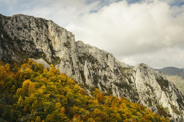 Mountain peak with colorful autumn trees and cloudy sky