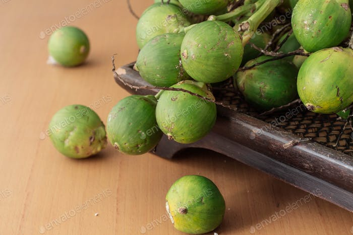 betel nut on wooden