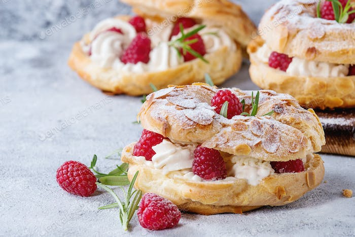 Choux cake Paris Brest with raspberries