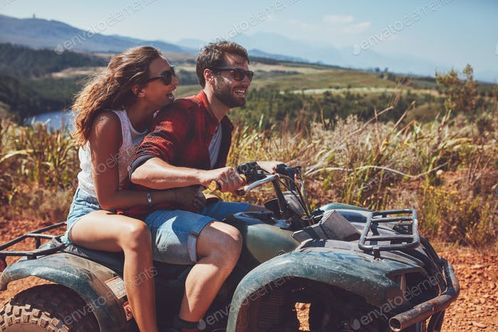 Couple having fun on an off road adventure