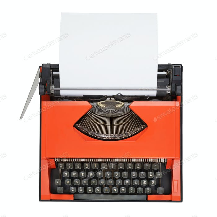 Red typewriter with Danish keyboard isolated