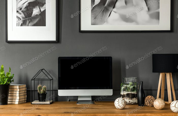 Simple grey workspace interior