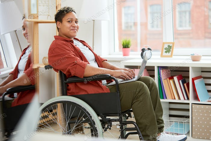 Disabled woman communicating online