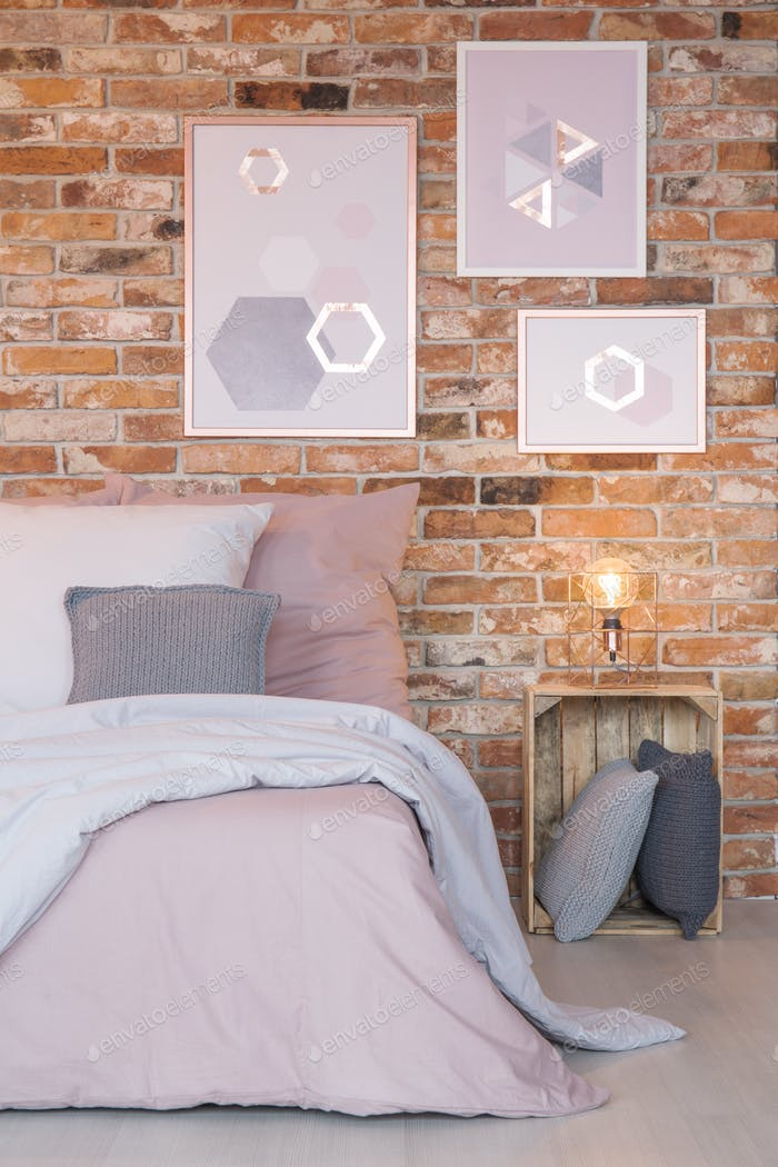 Bedroom with modern wall decoration