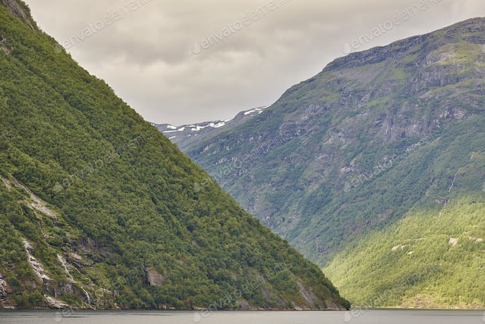 Norwegian fjord landscape. Hellesylt-Geiranger cruise route. Visit Norway. Travel