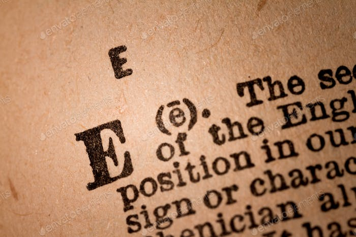 Close-up of a E, the 5th Letter of the Latin Alphabet