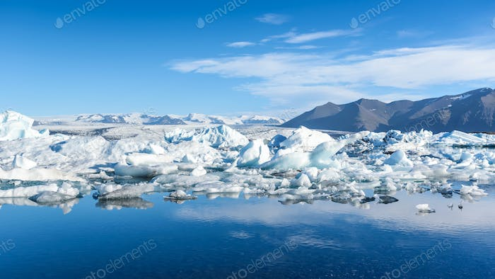 view of icebergs in glacier lagoon, Iceland