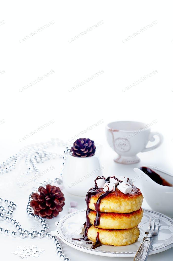 Christmas Syrniki ,Cottage cheese pancakes,
