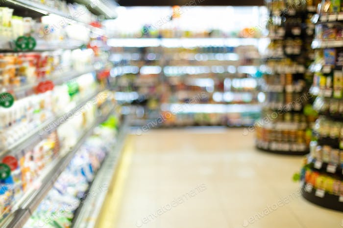 Blurry Supermarket Background, Grocery Store Aisle With Products On Shelves