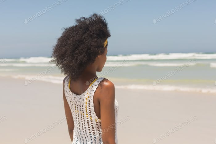 Rear view of young African American woman standing on the beach in the sunshine. She is looking away