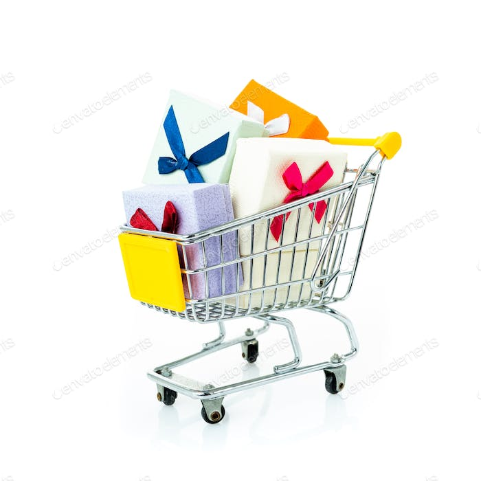 shopping cart with gifts isolated on white