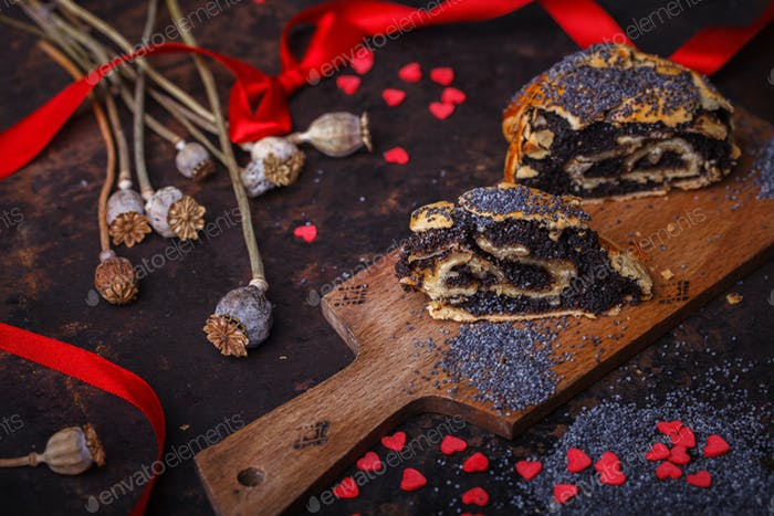 Roll with poppy seed filling holiday Valentine's day