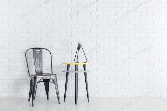 Metal chair in room