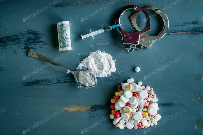 Junky kit, narcotics concept, addiction problem