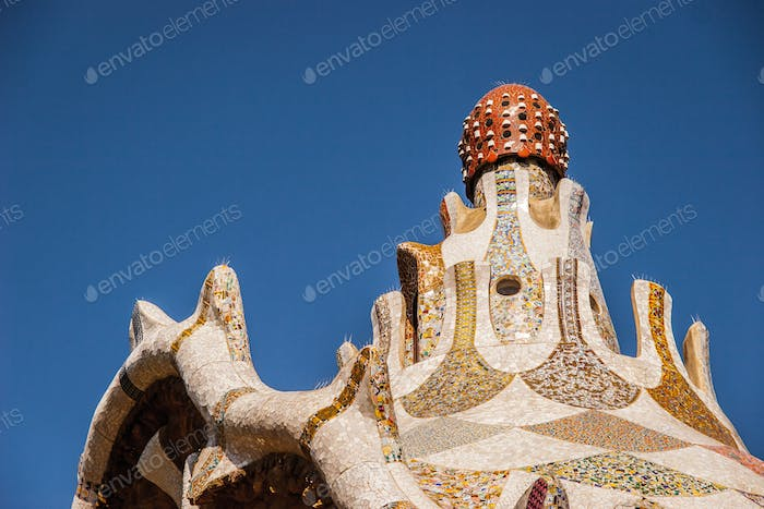Architecture of Barcelona on the blue sky