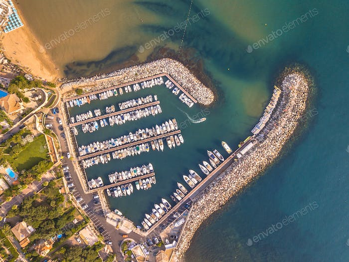 Marina top down aerial view